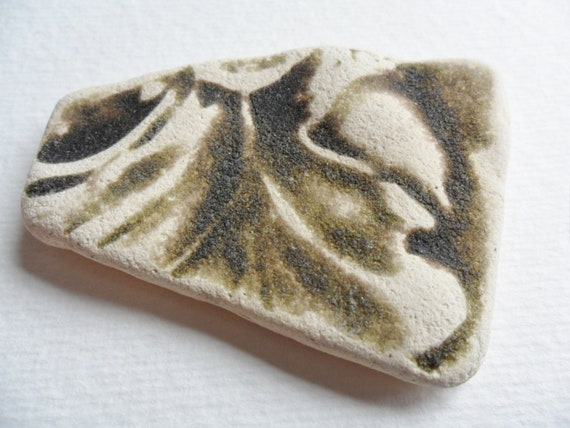 Giant textured patterned piece of beach found Welsh sea pottery - Dark olive and white