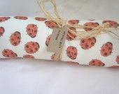 Organic baby Blanket: Coccinelle ladybirds on natural Organic Cotton and  Poly fleece Blanket.