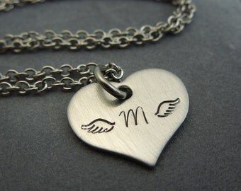 Angel wings handstamped stainless steel necklace personalized