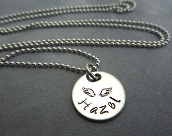 memorial neckalce hand stamped stainless steel