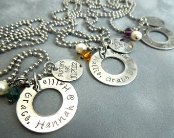 Best friends set of 3 necklaces hand stamped stainless steel