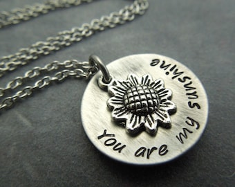 You are my sunshine hand stamped stainless steel necklace with sunflower charm