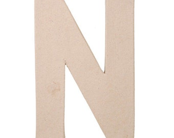 "8"" Paper Mache Letter ""N"" 8 x 5.5 x 1 inches 2862-N"