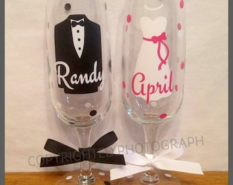 Personalized WEDDING CHAMPAGNE FLUTES for Groom Bride Groomsmen Bridesmaids Wedding Date Tuxedo Dress