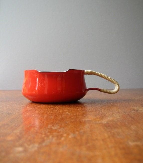 Vintage Dansk Kobenstyle Enamel Warming Pot / Pouring Cup - Red
