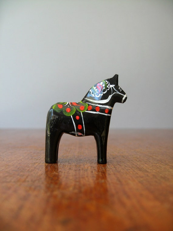 Vintage Swedish Dala Horse - Tiny Black