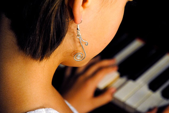 Music note jewelry  earrings handmade silver plated wire wrapped silver filled filigree