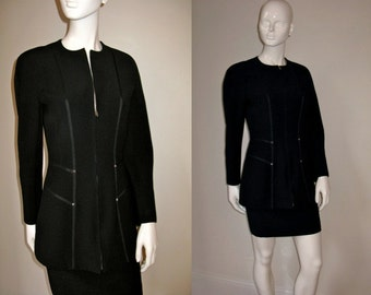 Vintage 1980s Claude Montana Black Skirt Suit with Ribbon and Stud Detail on Zip Front Jacket