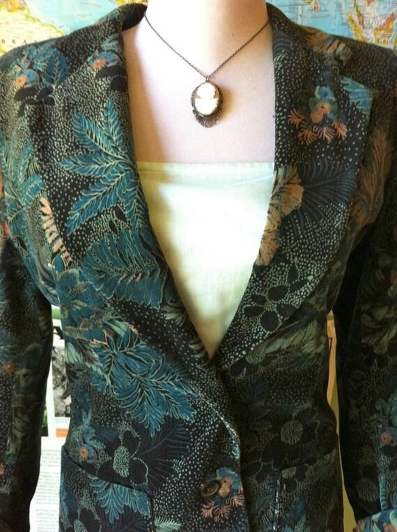 70's Abstract Floral Velvet Blazer