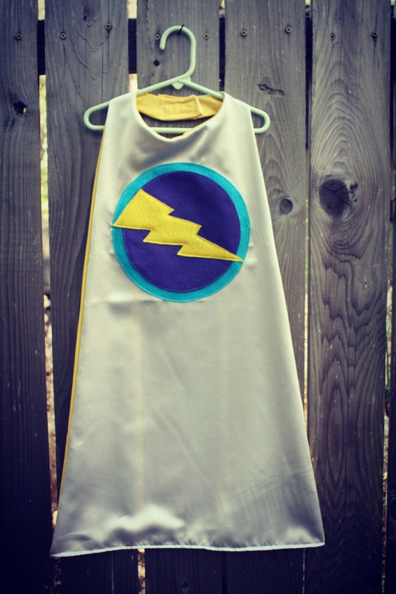 Super Hero Cape With Lightning Bolt  in Satin fully lined