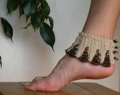 Hand Knit Beige Spats with Brown Wooden Beaded