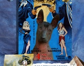 Mexican Hairless Dog Xolo  Vintage Movie Style Poster Canvas Print  - 4 For Texas Movie Poster NEW Collection by Nobility Dogs