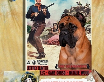 Cane Corso Print Vintage Canvas Print - The Searchers Movie Poster by Nobility Dogs