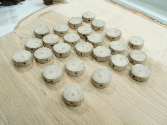 Round Driftwood Beads. 25 Handmade Beads through drilled with 2.5mm holes.