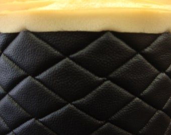 "Vinyl Leather Faux vinyl Black Quilted Vinyl auto headliner headboard fabric with 3/8"" Foam Backing Upholstery 54"" Wide"