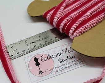 Pink/fucshia Tuxedo velvet satin ruffled pleated braid 1 yd lace trims lingerie sewing costume ribbon  by Catherine Cole