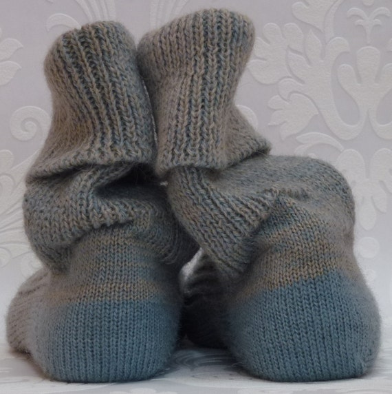 KNITTED WOOL SOCKS - 25cm foot - Stunning dove blue and oatmeal  - hand cranked and finished.