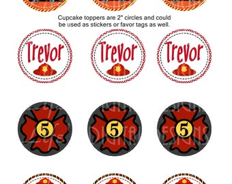 "Fireman Cupcake Toppers 2"" Birthday Favor Tags Stickers Printable Customizable"
