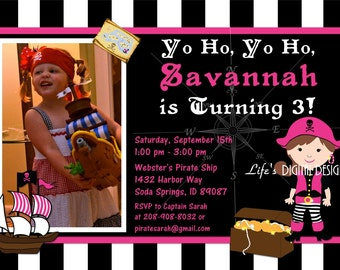Girl Pirate Invitations Black White Stripes Photo Option Customizable Printable