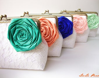 bridesmaids clutch bags / set of 5 bridesmaid clutches / Jade, Orange, Blue, Peach, Mint / wedding clutches