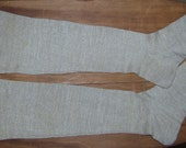 duchess county ny hand knit unbleached linen women's stockings 1800 - 1850 with initials