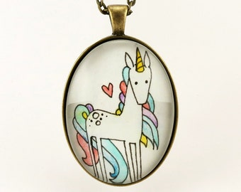 Rainbow Unicorn Necklace, Minimalist Watercolor Painting Art Pendant, Unicorn Jewelry