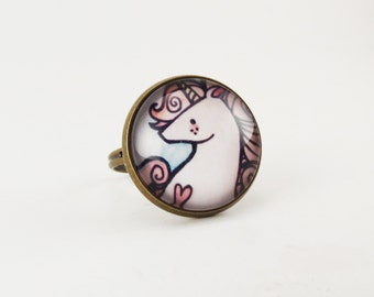 Unicorn Ring, Pink Fantasy Jewelry, Adjustable Ring .