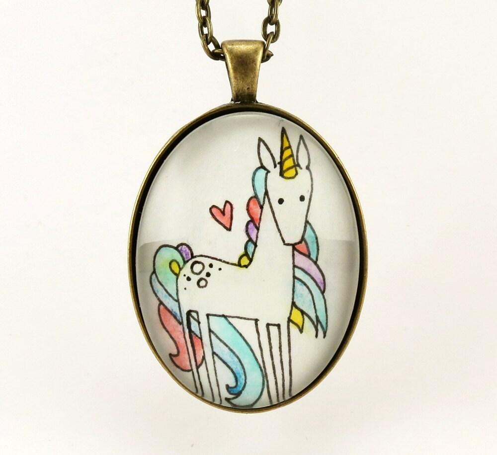 Rainbow unicorn necklace minimalist watercolor painting art for Minimal art jewelry