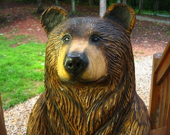 "3-foot Brown Bear Chainsaw Wood Sculpture, ""Poppyseed"""