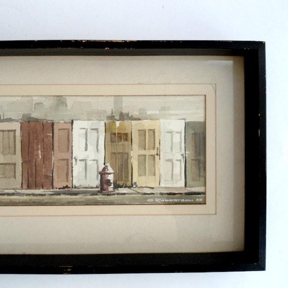 Reserved  Vintage Watercolor Painting of Doors