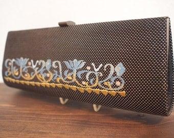 SALE! was 30 dollars - Japanese vintage embroidered kimono/Obi fabric blue clutch bag - Nishijin-brocade Kyoto