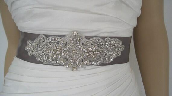 Grey Crystal Wedding dress belt sash belt rhinestone bridal sash belt bridesmaid dress sash STAR