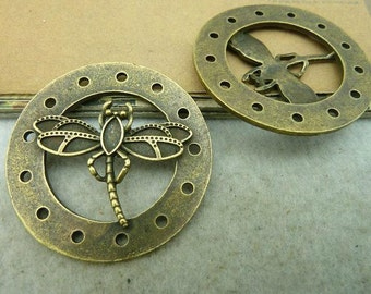 2pcs 44mm The  Dragonfly Antique Bronze Retro Pendant Charm For Jewelry Necklace Charms Pendants C3050