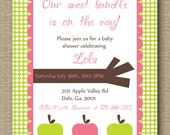 Baby Shower Invitation - Apple Themed Custom DIY Printable Card