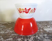 Vintage Pyrex Friendship Bowl Red Pyrex Bowl Mixing Bowls Serving Bowl