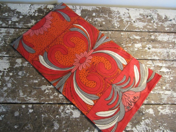 Vintage Vera Neumann Dish Towel Red Floral Towel Kitchen Towel
