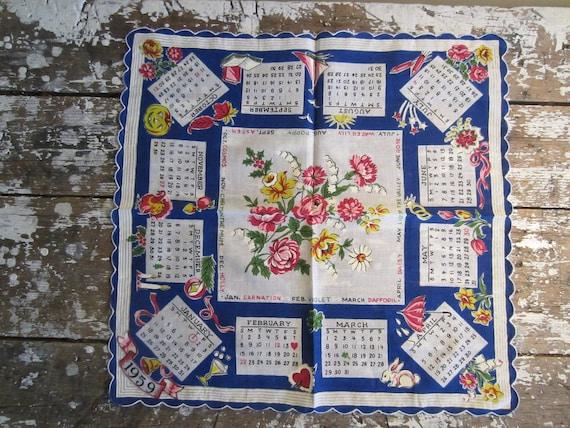 Vintage Handkerchief Birthday Hanky Calendar Hankie Blue Seasons Handkerchief 1959