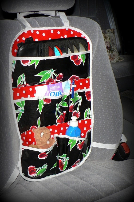 Car Caddy Organizer - Oilcloth - Black Cherries with Red Polka Dot