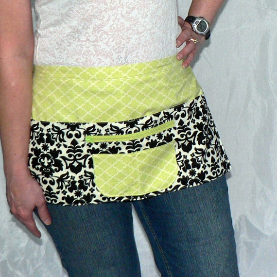 6 Pocket Utility Apron- for vendors, crafting, or the classroom - Black Damask / Lime Trellis (last one)