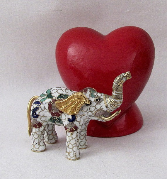 Vintage Cloisonne Enameled Tiny Little Elephant Figurine - Trunk up - Means Good Luck