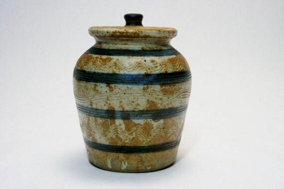 Vintage Northwood Stoneware Covered Jar Crock from New Hampshire Studio Pottery