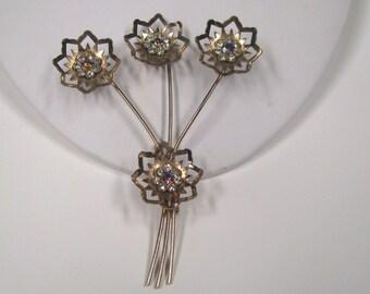 Vintage Rhinestone Flower Spray Brooch Copper Tone Metal, Wear or Repurpose