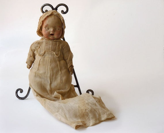 Spooky Antique Composition doll, slightly decomposed Halloween ghost