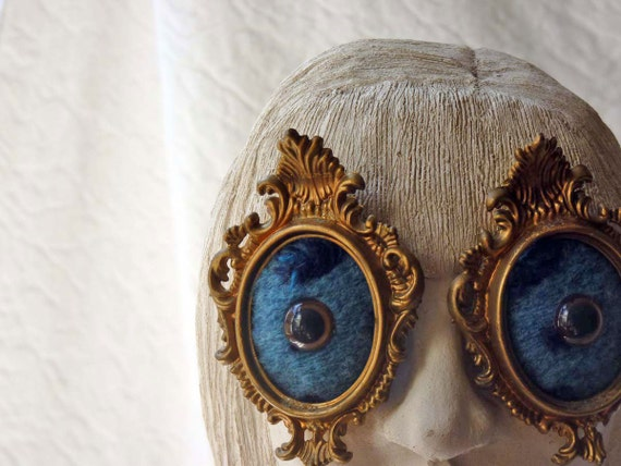 Surrealist Eyes for your wall No. 3, Brown eyes smiling in the blue