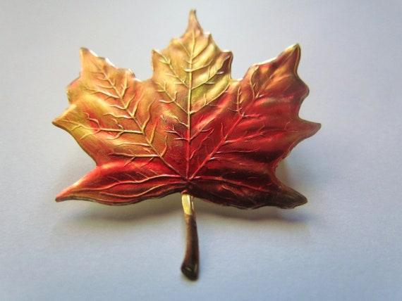 Autumn Leaf Brooch - Vintage Maple Leaf Pin - Orange and Gold