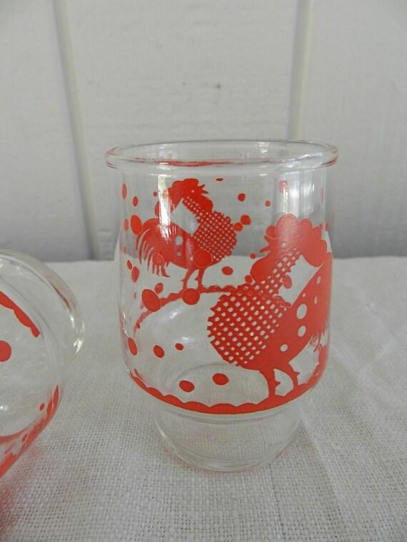 Rise and Shine Vintage Red Rooster Polka Dots Cockadoodle Juice or Large Shot Glasses Set of 3