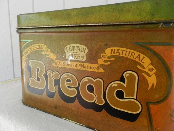 Retro Seventies Cheinco Bread Tin Lidded in Olive Green Rusty Orange and Brown Autumn Colors Farmhouse Kitchens