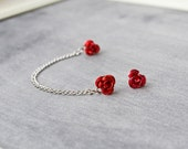 Red Rose Single Silver Chain Double Pierce Cartilage Earring (Pair)