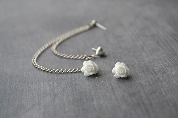 White Flower Bud and Heart Multiple Pierce Silver Cartilage Earrings (Pair)