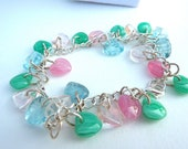 Pastel Glass Heart Necklace/Charm Bracelet/Cluster Dangle Earring Set
